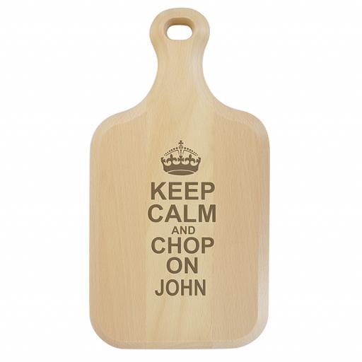 Personalised Keep Calm Large Paddle Chopping Board