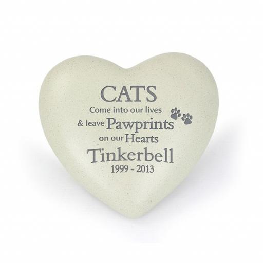 Personalised Cats Pawprints Memorial Heart
