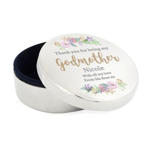 Personalised Floral Watercolour Godmother Wedding Round Trinket Box