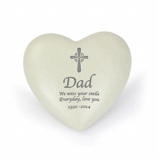 Personalised Cross Memorial Heart