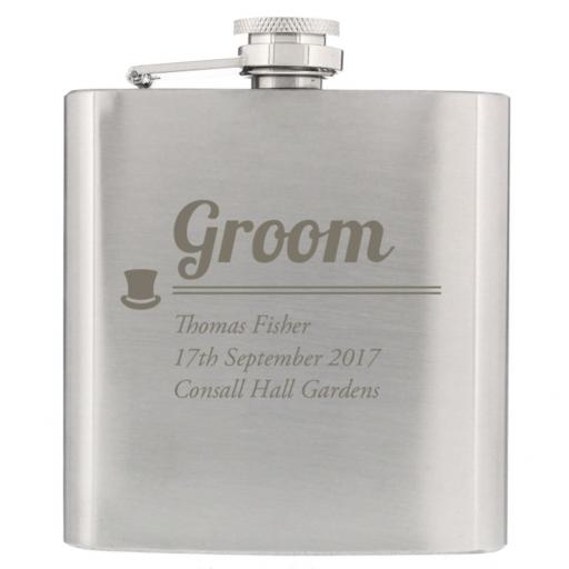 Personalised Groom Engraved Stainless Steel Hipflask Top Hat Motif