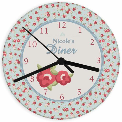 Personalised Vintage Floral Glass Clock