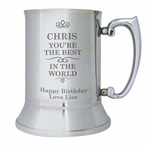 Personalised Best in the World Design Stainless Steel Tankard
