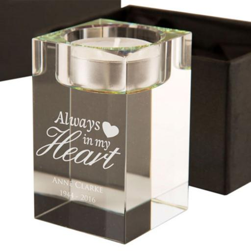 Personalised Always in My/Our Heart/s Glass Tealight Holder
