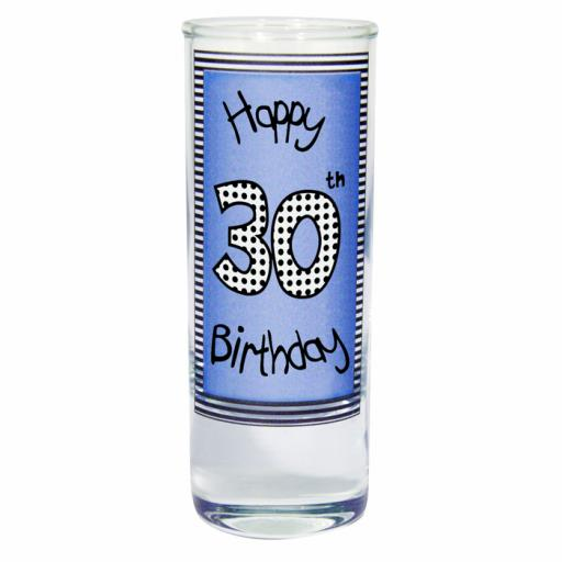 Blue 30th Happy Birthday Shot Glass