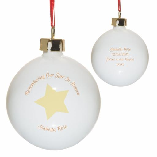 Personalised Remembering Our Star In Heaven Christmas Tree Bauble Yellow
