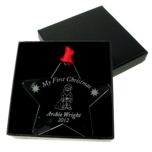 Personalised My First Christmas Acrylic Star - Santa