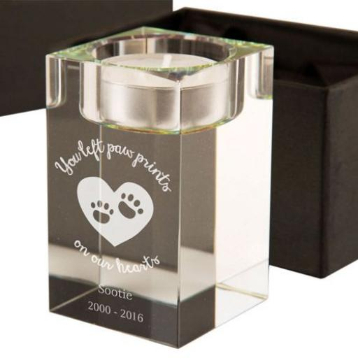 Personalised Memorial Paw Prints Glass Tealight Holder
