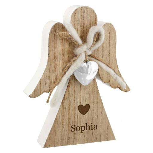 Personalised Rustic Wooden Angel Ornament Heart Motif