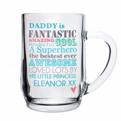 Personalised He is... Glass Pint Tankard