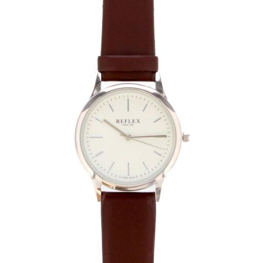 Personalised Unisex Silver Watch Faux Leather Strap with Presentation Box