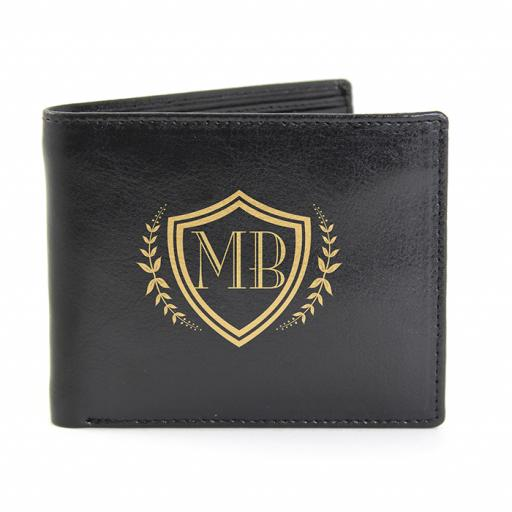 Personalised Initials Shield Black Leather Wallet