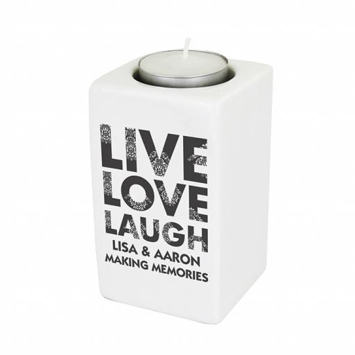 Personalised Live Love Laugh Ceramic Tealight Candle Holder