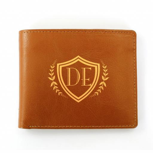 Personalised Initials Shield Brown Leather Wallet