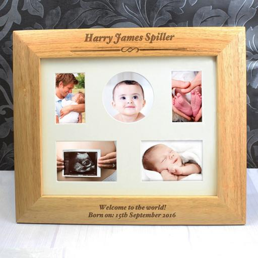 Personalised 8x10 Any Message Wooden Formal Landscape Photo Frame
