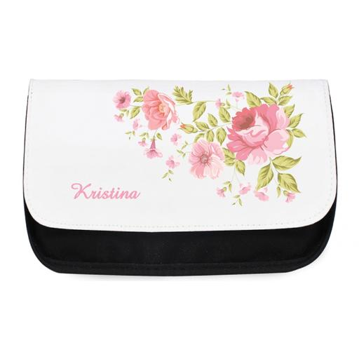 Personalised Ladies Make Up Cosmetic Bag Pouch Pretty Rose Motif