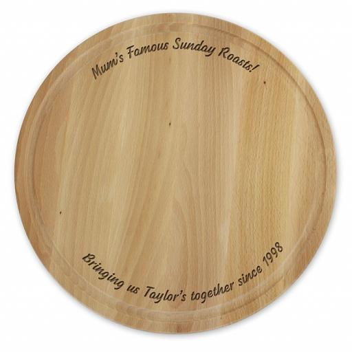 Personalised Wooden Engraved Round Chopping Board