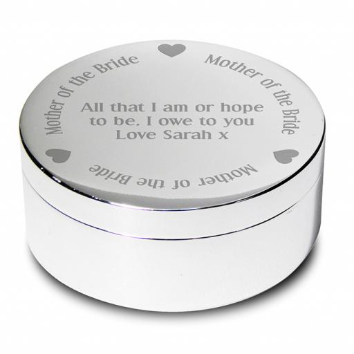 Personalised Mother of the Bride Round Trinket Box Heart Motif