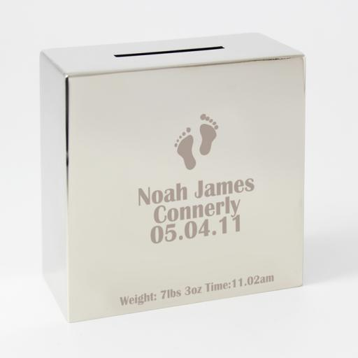Personalised Engraved Square Silver Moneybox Footprints Motif