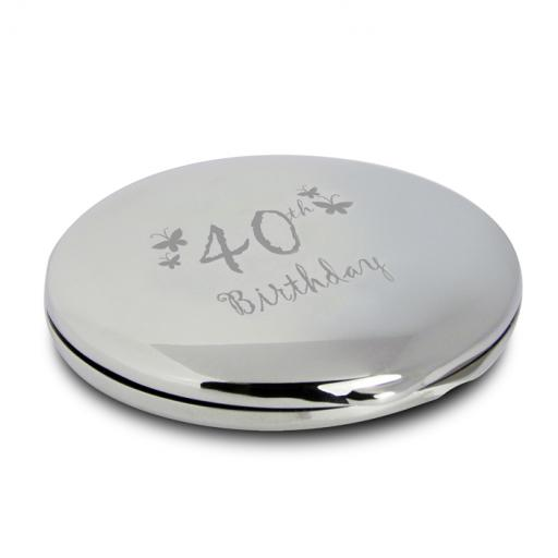 40th Birthday Round Compact Mirror & Pouch Butterfly Motif