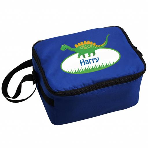 Personalised Child's Blue Dinosaur Lunch Bag