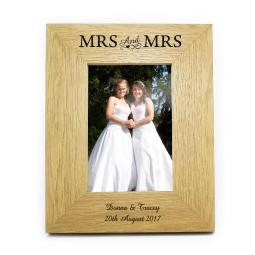 Personalised 6x4 Mrs & Mrs Wooden Frame