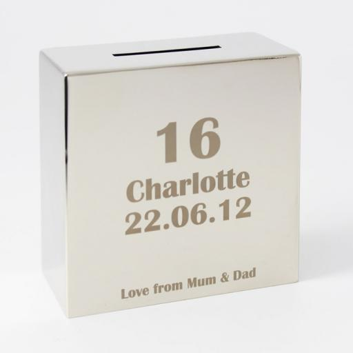 Personalised Engraved Square Silver Moneybox ANY AGE
