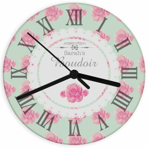 Personalised Vintage Rose Glass Clock
