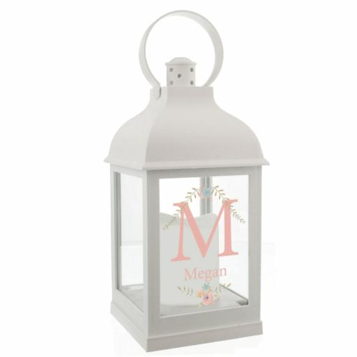 Personalised Initial Floral Bouquet White Lantern