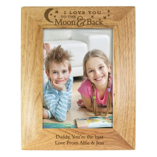 Personalised 5x7 I Love You TO THE Moon & Back Wooden Frame