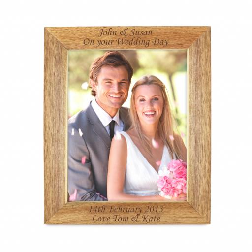 Personalised 10x8 Any Message Wooden Portrait Photo Frame