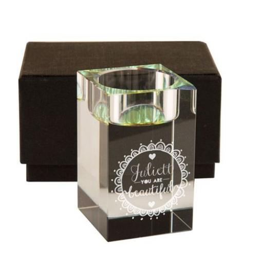 Personalised You Are Beautiful Glass Tealight Holder