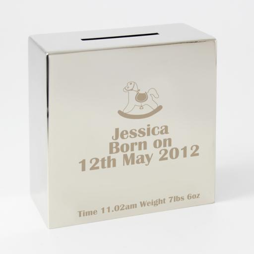 Personalised Engraved Square Silver Moneybox Rocking Horse Motif