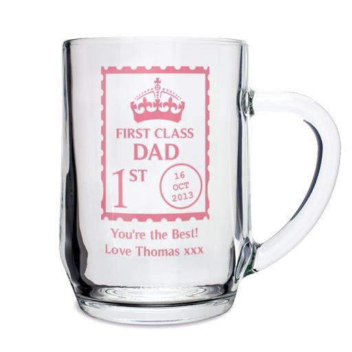 Personalised First Class Design Glass Pint Tankard