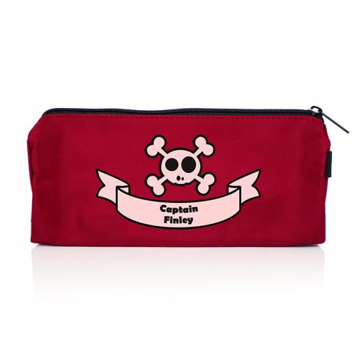 Personalised Red Skull & Crossbone Pencil Case