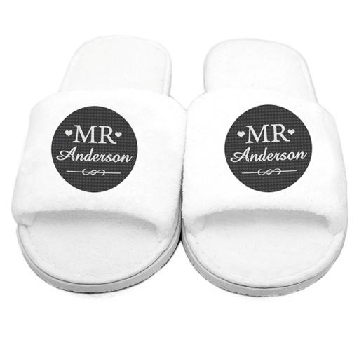 Personalised Mens Mr Velour Slippers Open Toe