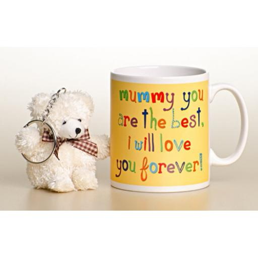 Personalised Mothers Day Mummy Mug And Bear Keyring