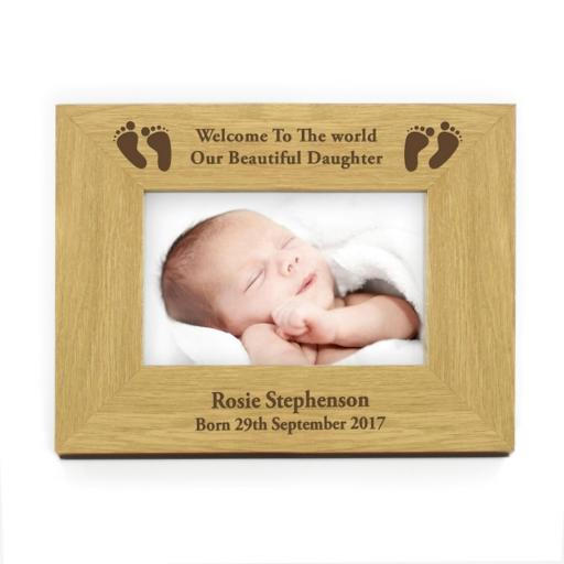 Personalised 4x6 Baby Footprints Landscape Wooden Frame