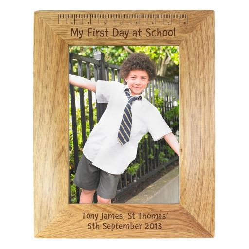 Personalised 5x7 'My First Day at School' Wooden Frame