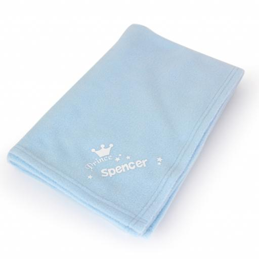 Personalised Baby Prince Blue Blanket