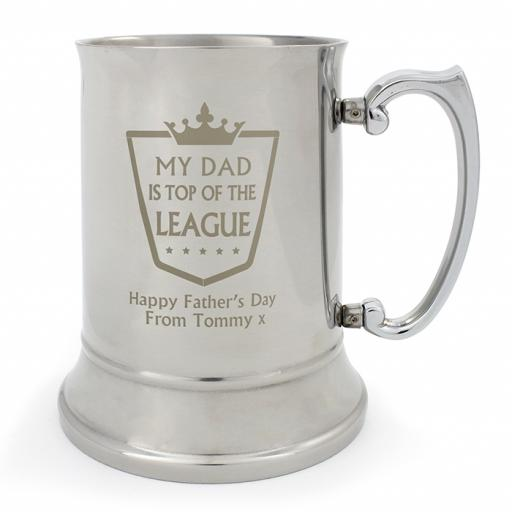 Personalised Top Of The League Stainless Steel Pint Tankard