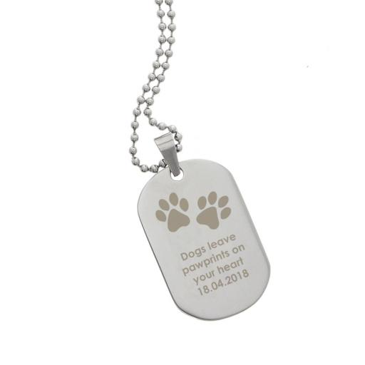 Personalised Men's Pawprints Stainless Steel Dog Tag Necklace