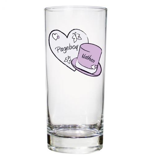 Personalised Heart & Top Hat Wedding Hi-Ball Glass Male Role