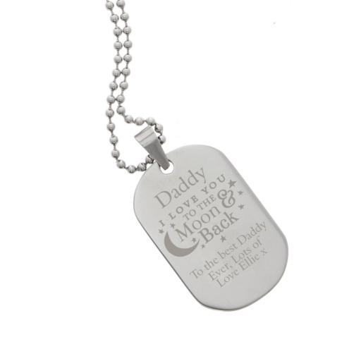 Personalised Men's To The Moon & Back Stainless Steel Dog Tag Necklace