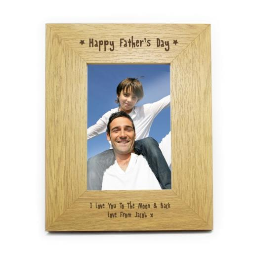 Personalised 6x4 Happy Father's Day Wooden Frame