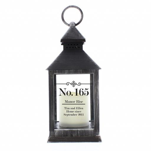 Personalised Rustic Black Lantern Elegant Diamond