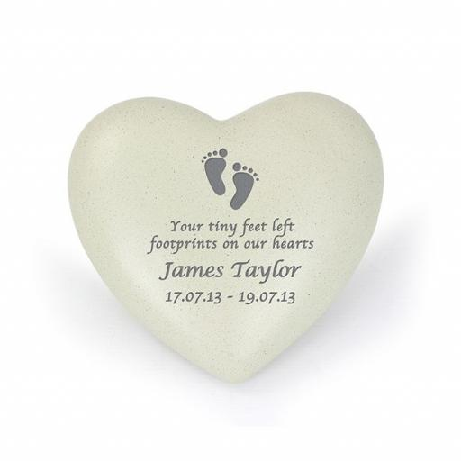 Personalised Footprints Memorial Heart