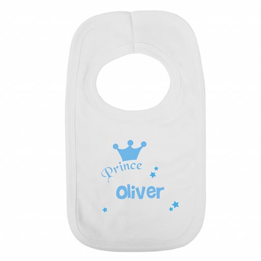 Personalised Baby's Bib Prince Blue Crown 0 - 3 Months
