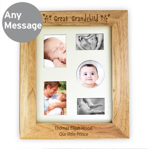 Personalised 10x8 Great Grandchild Wooden Portrait Photo Frame