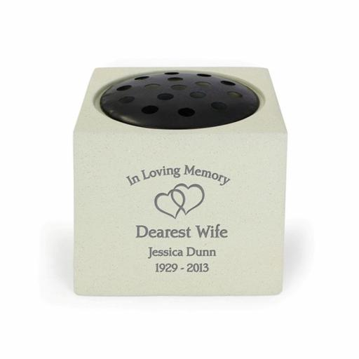 Personalised Floating Hearts Memorial Rose Bowl Vase